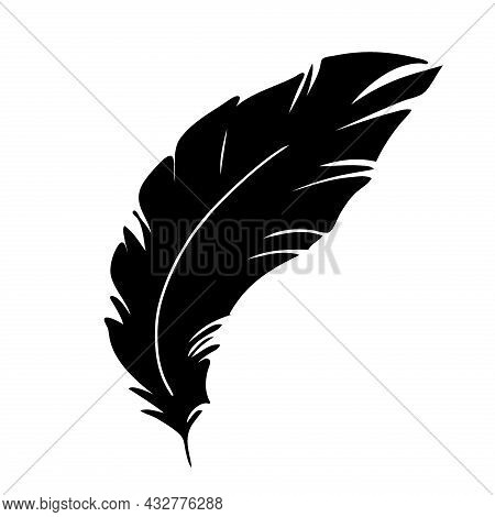 Feather Of Birds. Black Feather Silhouette For Logo Vector Set