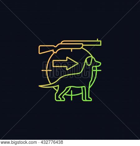 Dog Handler Gradient Vector Icon For Dark Theme. Hunting With Canine. Trained Hunting Dog. Hunt Comp