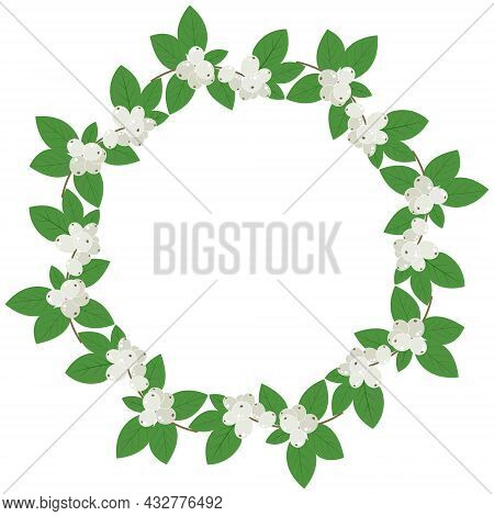 Snowberry Circular Frame Vector Illustration. Round Wreath Of Winter Berries. Rim Template For Text.