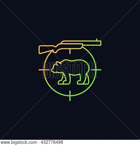 Big Game Hunting Gradient Vector Icon For Dark Theme. Hunt Large Animals. African Species Hunting. S