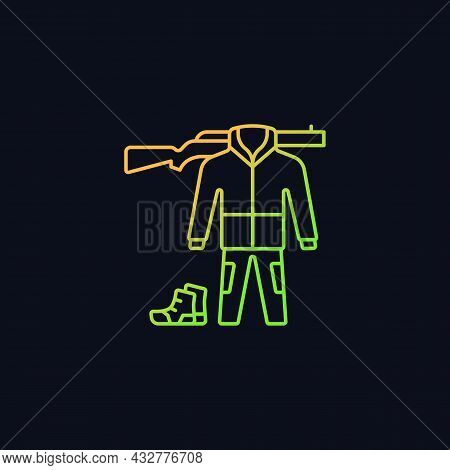 Hunting Gear Gradient Vector Icon For Dark Theme. Apparel For Hunt. Camouflage Outfit. Tools And Wea
