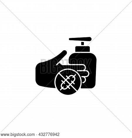 Antiseptic Hand Washing Black Glyph Icon. Hand Disinfectant. Antiseptic Handrub. Preventing Bacteria
