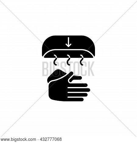 Air Dry Hands Black Glyph Icon. Hygienic Alternative. Hand-drying Method. Spreading Germs Risk. Elec