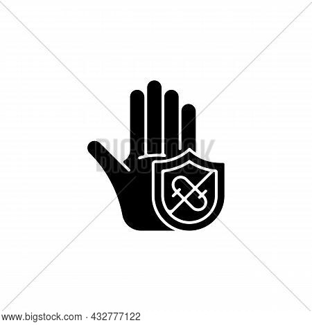 Microbes Protection Black Glyph Icon. Protect Hands Against Pathogens. Using Antibacterial Soaps, Ge