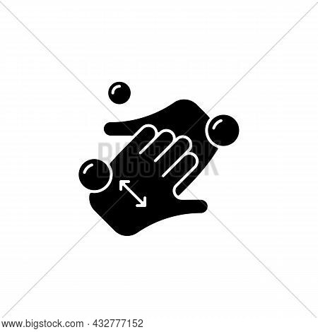 Cup Fingers Black Glyph Icon. Cleaning Hands And Nails With Soap. Handwashing Technique. Wipe Off Di