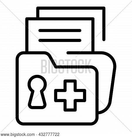 Locked Folder Icon Outline Vector. File Lock. Confidential Archive
