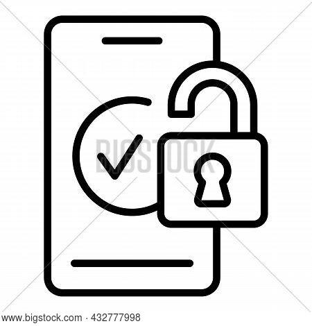 Unlocked Mobile Icon Outline Vector. Phone Lock. Smart Verification