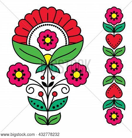 Swedish Floral Folk Art Vector Design Collection, Scandinavian Patterns With Flowers And Hearts Insp