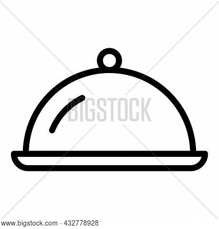 Meal Serving Icon Outline Vector. Serve Tray. Food Dining