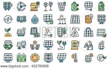 Solar Panels Icons Set Outline Vector. Invertor Solar Energy. Panels Battery System