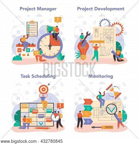 Project Manager Concept Set. Successful Business Project Planning