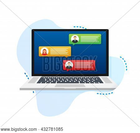 Laptop With Customer Review Rating Messages, Laptop Display And Online Reviews Or Client Testimonial