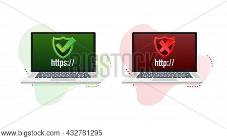 Http And Https Protocols On Shield On Laptop, On White Background. Vector Illustration.