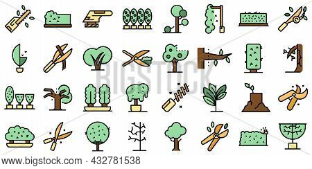 Tree Trimming Icons Set Outline Vector. Tree Woodcutter. Work Thin Line Color Flat Isolated On White