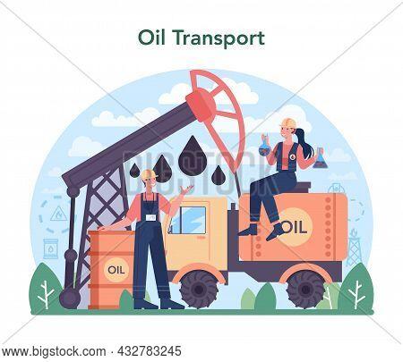 Petroleum Industry Concept. Pumpjack Platform Extracting Crude Oil