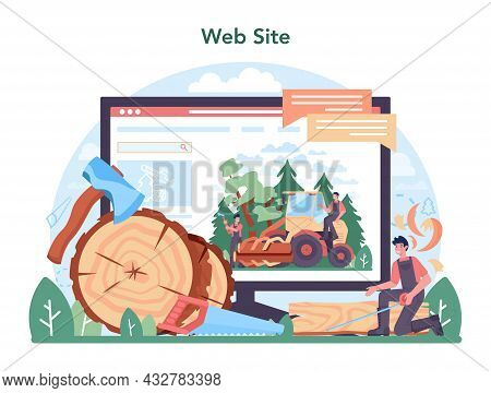 Timber Industry Online Service Or Platform. Logging And Woodworking