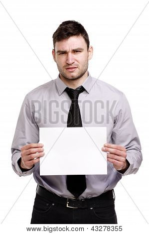 Business Man Looking Confused Holding A Blank Sign