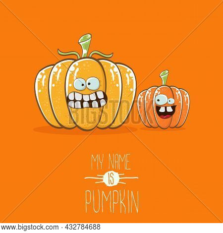 Vector Funny Cartoon Cute Orange Smiling Friends Pumkins Isolated On Orange Background. My Name Is P