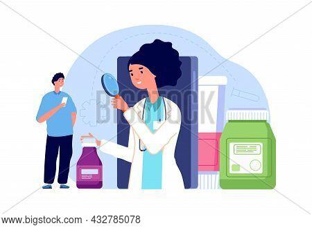 Online Pharmacy Concept. Woman Pharmacist Look At Medication. Man Need Medical Help, Telemedicine Ve