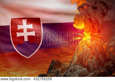 Stratovolcano Eruption At Night With Explosion On Slovakia Flag Background, Troubles Because Of Erup