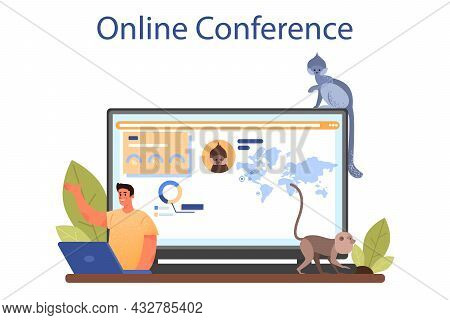 Zoologist Online Service Or Platform. Scientist Exploring And Studying Fauna