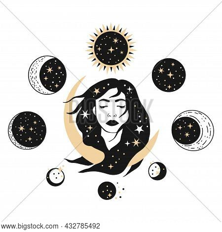 Boho Celestial Woman With Moon Esoteric Mystic Cosmic Space Vector Symbol Set. Magic Spiritual Witch