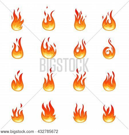 Cartoon Fire Icons. Orange Blaze Symbols, Flame Emblems. Isolated Campfire, Hot Burn Bonfire. Flamma