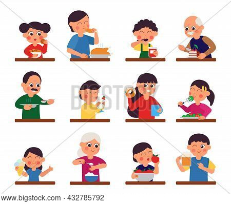 People Eating. Men Eat Taste Food. Restaurant Or Cafe Characters, School Canteen, Buffet. Person Has