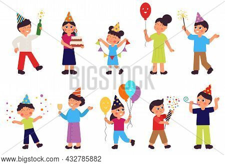 Happy Birthday Characters. Isolated People Group, Woman With Cake. Adult And Children Celebrate, Fam