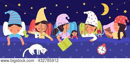 Sleepy Kids. Night Dreams, Children Sleep In Bed With Toys. Big Family, Cute Sisters And Brothers Be