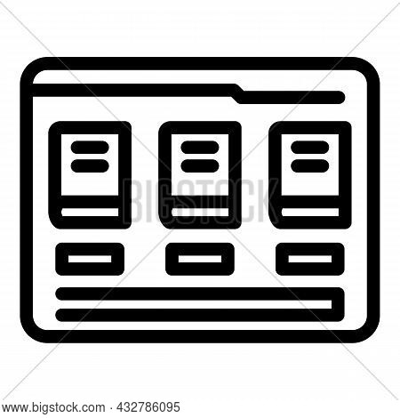 Electronic Bookstore Icon Outline Vector. Online Library. Library Bookshelf