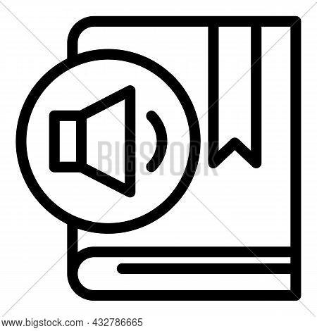 Speaker Ebook Icon Outline Vector. Digital Audiobook. Audio Guide