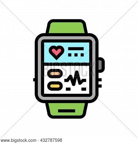 Fitness Bracelet Electronic Gadget Color Icon Vector. Fitness Bracelet Electronic Gadget Sign. Isola