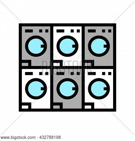 Laundromat Equipment For Washing Clothes Color Icon Vector. Laundromat Equipment For Washing Clothes