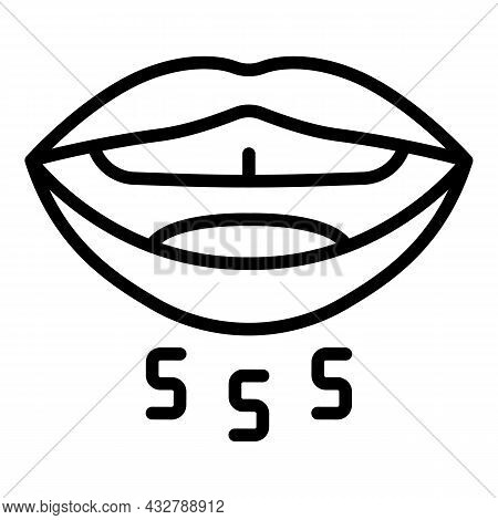 Mouth Letters Icon Outline Vector. Speech Therapy. Speaking Letter