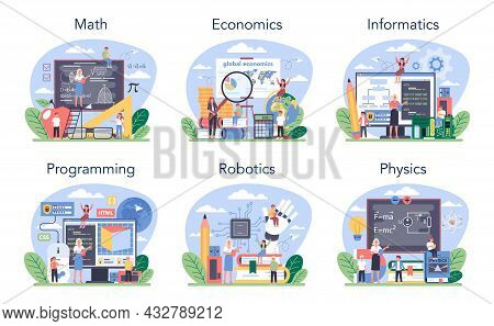 Exact School Subjects Or Educational Class Set. Student Studying Hard Science