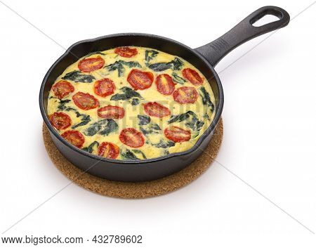 spinach tomato frittata, italian food isolated on white background