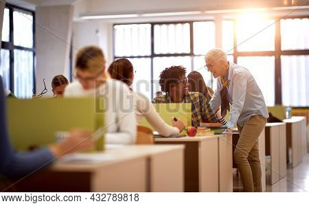 Female professor and a student talking about a lesson at a lecture in the classroom