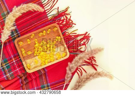 Healthcare Banner With Vitamin Teme. Autumn Composition With Wooden Plate With Yellow Vitamin Gel Ca