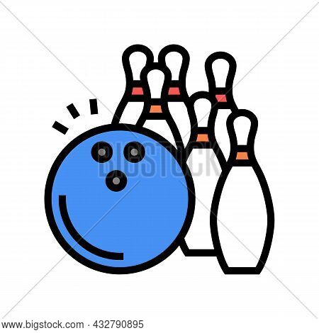 Bowling Game Color Icon Vector. Bowling Game Sign. Isolated Symbol Illustration