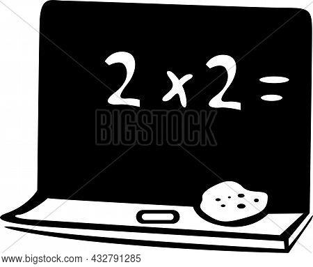 Black School Blackboard In A Math Classroom. On The Blackboard A Math Operation And Lies A Sponge An