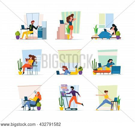 Home Freelancers. Professional Workers Making Homework In Interior Creative Workflow Relaxing Person