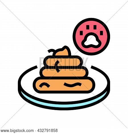 Tapeworm In Poo Color Icon Vector. Tapeworm In Poo Sign. Isolated Symbol Illustration