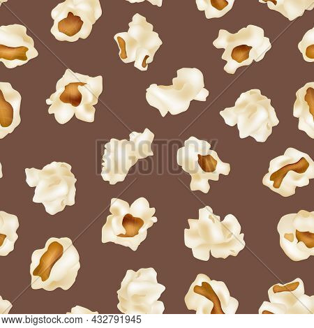 Popcorn Pattern. Movie Time Junk Food Snacks Popcorn Illustrations For Textile Design Projects Decen