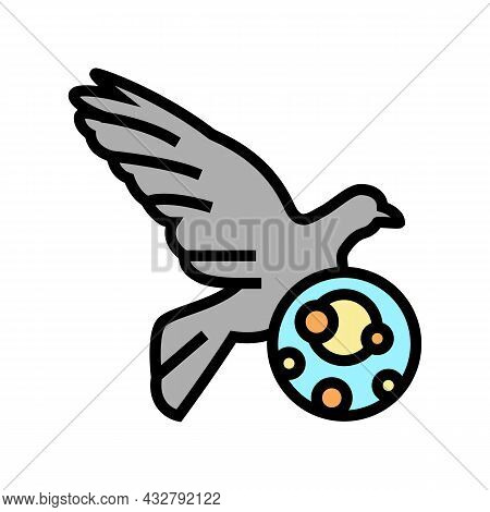 Psittacosis Bird Color Icon Vector. Psittacosis Bird Sign. Isolated Symbol Illustration
