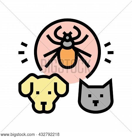 Mite On Animal Body Color Icon Vector. Mite On Animal Body Sign. Isolated Symbol Illustration