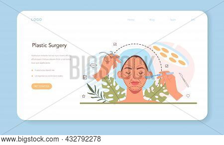 Plastic Surgery Web Banner Or Landing Page. Idea Of Modern Face Aesthetic