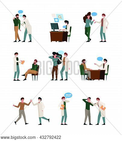 Medic Dialogue. Patients Talking With People Doctor Consulting Garish Vector Flat Illustrations Set