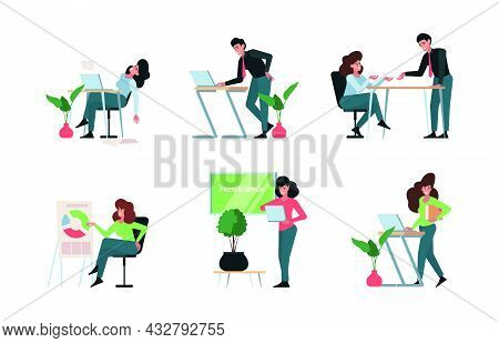 Business Characters. Office Managers Sitting Talking Business Dialogues Collaboration Persons Confer