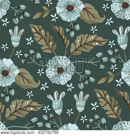 Seamless Pattern With Blue Flower. Vector Dreamy Ornate Vintage Illustration. Detailed Floral Orname